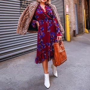 Kensie Floral Maroon Dress